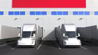 Trucks at Warehouse Loading Bay with Flag of TUNISIA
