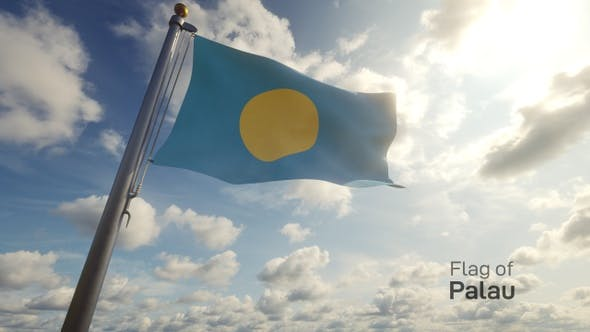 Palau Flag on a Flagpole