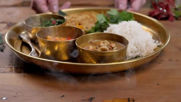 Thumbnail for Spicy Chicken Tikka Masala in Bowl on Rustic Wooden Background. With Rice, Indian Naan Butter Bread