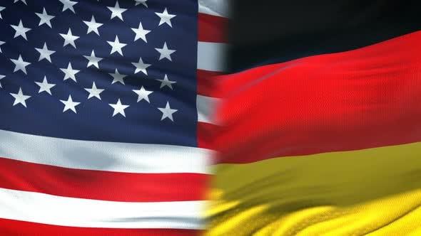Thumbnail for United States and Germany Handshake, International Friendship, Flag Background