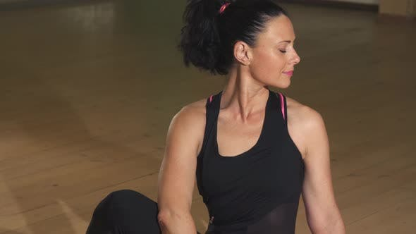 Thumbnail for Happy Gorgeous Relaxed Woman Exercising Sitting in Yoga Asana Position Smiling