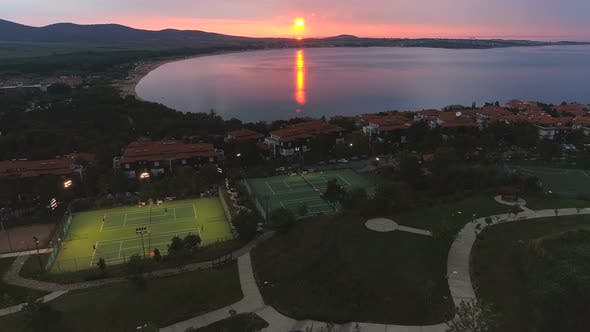 Thumbnail for Sunset Over Tennis Courts in Coastal Resort Sozopol Bulgaria
