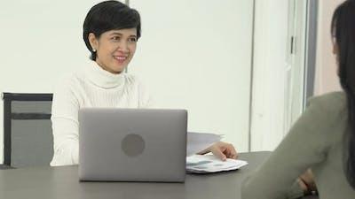 Businesswoman interview employee