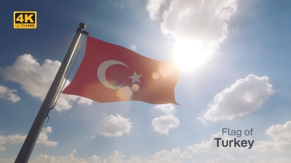 Thumbnail for Turkey Flag on a Flagpole V2 - 4K