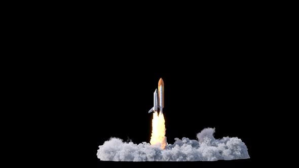 Space Shuttle With Fuel Tank Launch