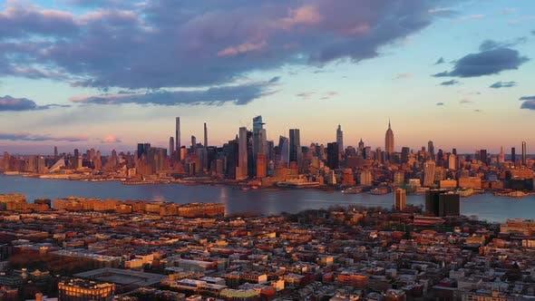 Urban Skyline of Midtown Manhattan and Hoboken