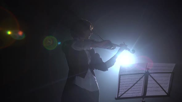 Thumbnail for Violinist Performs on Stage with a Lantern