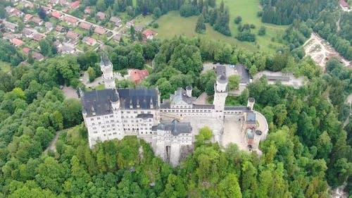 Aerial view of Neuschwanstein castle in Bavaria, Germany, Europe