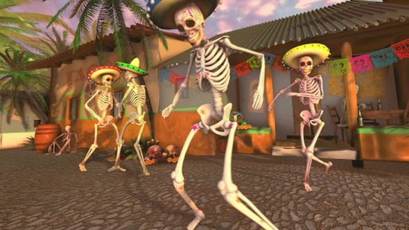 Thumbnail for Mexican Dancing Skeletons In A Village #1