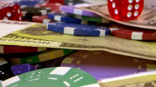 Gambling Money Chips Red Dices And Money 5