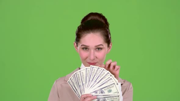 Thumbnail for Girl Won the Jackpot in the Lottery. Green Screen