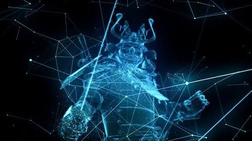 Cyber Digital Samurai Warrior Sword Katana in Hand Prepare To Fighting