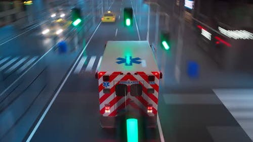 An ambulance on the signal goes through a city. Emergency vehicle at the street