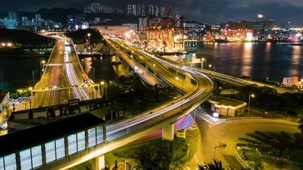 Thumbnail for Busy container terminal of Hong Kong at night