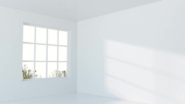 White empty room with sunlight come from the window.