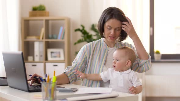 Thumbnail for Working Mother with Baby Boy at Home Office 4