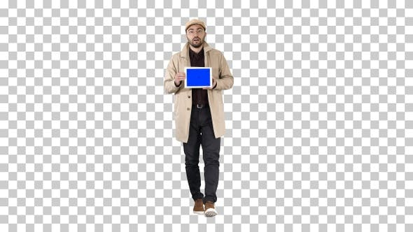 Thumbnail for Young man walking talking and showing digital tablet