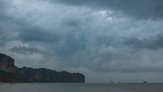 Thumbnail for Time Lapse of Rain Clouds Over Beach and Sea Landscape with Boats. Tropical Storm in Ocean.