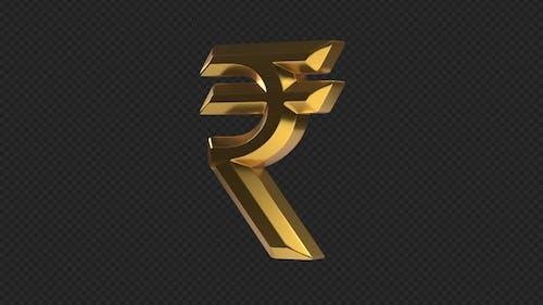 INR Indian Rupee Rotating Sign