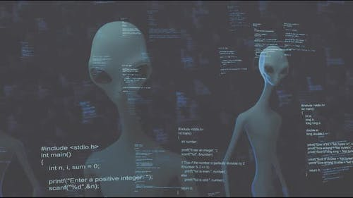 Classic Aliens Blue Computer Coding Cyber Space Hd