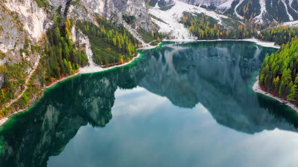 Thumbnail for Lago Di Braies Lake And Seekofel Mountain on Fall Season