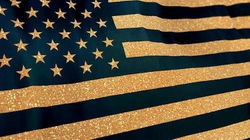 Golden USA Flag