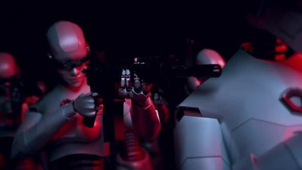 Thumbnail for Modern Cyber Robots Army With Artificial Intelligence In Red Alert Lights