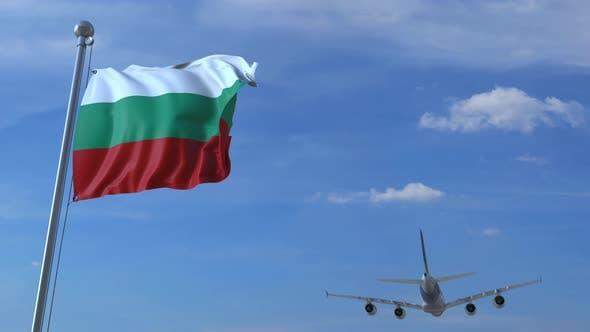 Airplane Flies Over Waving Flag of Bulgaria