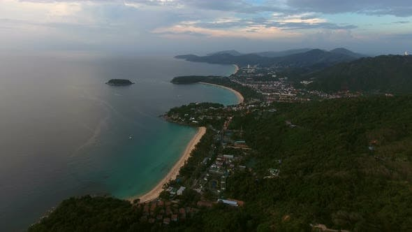 Thumbnail for Aerial View of Beautiful Sunset Above the Sea in Thailand
