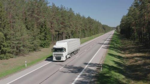 Semi Truck Transporting Parcel