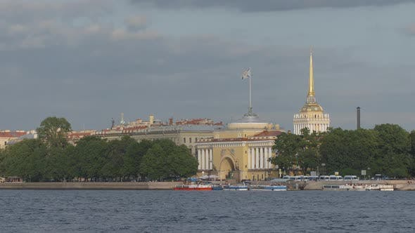 Time-lapse of Neva river, The Admiralty in the summer - St. Petersburg, Russia
