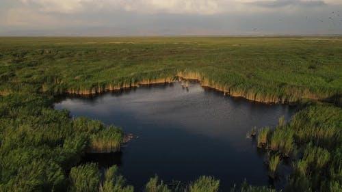 Natural Lake Lagun Aerial View