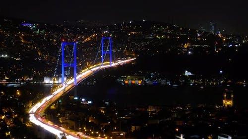 Istanbul Night Time Lapse with Bosphorus Bridge