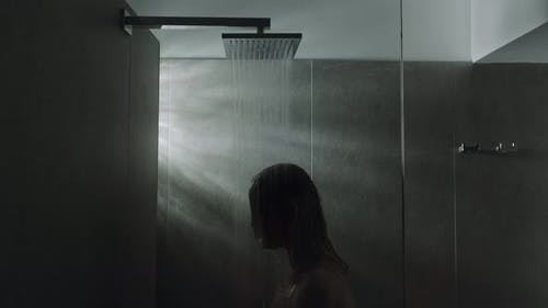A relaxing shower silhouette