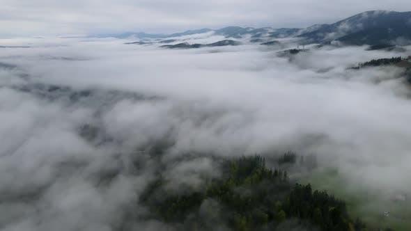 Thumbnail for Mountain Fog Time Lapse. Carpathians. Ukraine. Aerial. Gray, Flat, No Color.