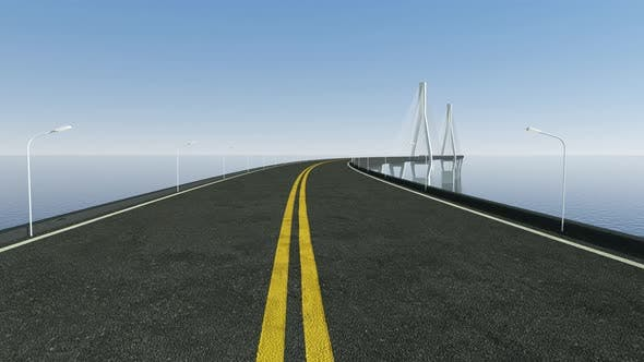 Thumbnail for Fast driving forward on the long curve bridge