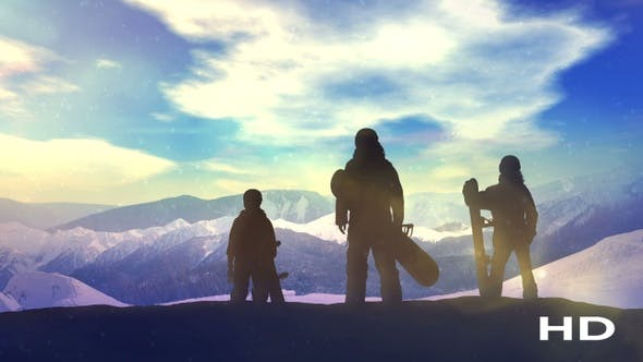 Thumbnail for Family Of Snowboarders On Top Of The Mountain