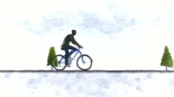 Man on bike Stop Motion