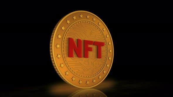 NFT Crypto art golden coin 3d