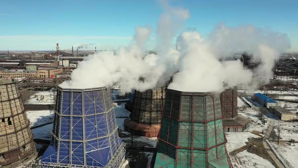 Industrial Chimney Produces Dirty Smog in Atmosphere