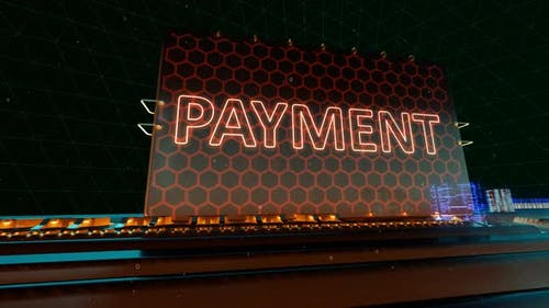 Technologie Payment Finance Bank und Mobile Banking Worte auf Digital Futuristic Circuit Board