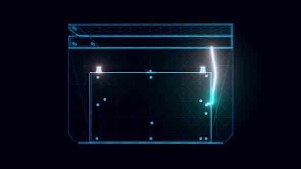 Movie Clapboard Hologram Rotating 4k