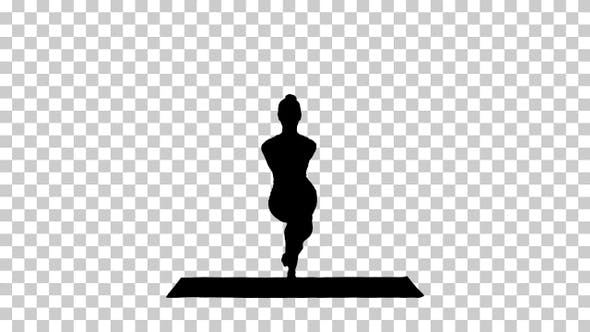 Cover Image for Silhouette Attractive girl standing in the balancing yoga