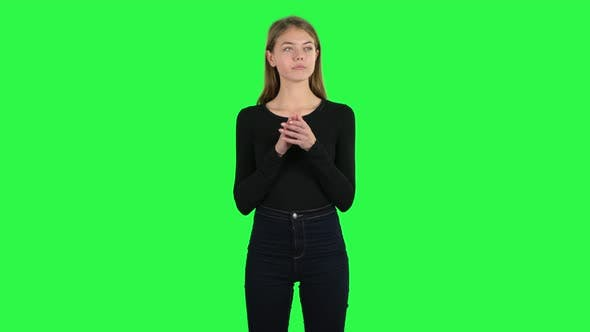 Thumbnail for Young Woman Claps Her Hands Indifferently. Green Screen