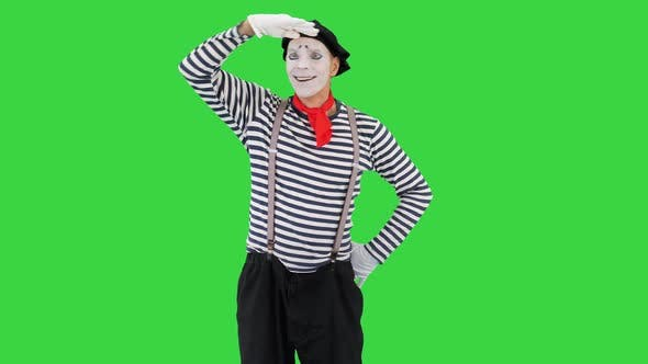 Thumbnail for Man Dressed Like Mime Looking Far Away on a Green Screen Chroma Key