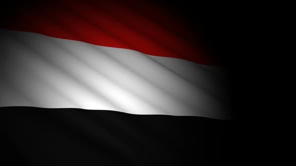 Cover Image for Yemen Flag Blowing in Wind
