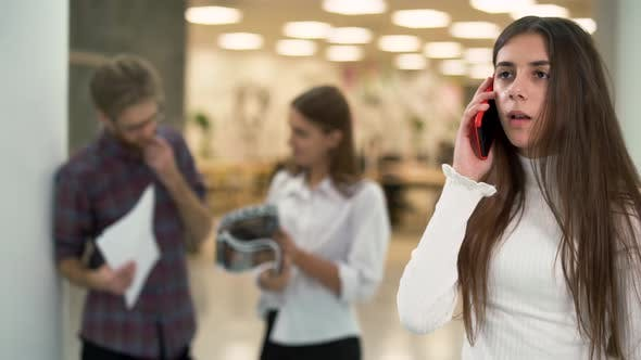 Thumbnail for Portrait of Young Girl Worried Talking By Telephone in Working Place on the Background of Chatting