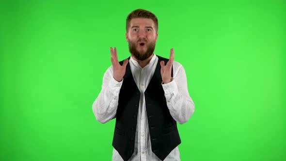 Thumbnail for Surprised Man with Shocked Face Expression. Green Screen