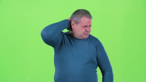 Thumbnail for Headache Torments Middle Aged Man. Green Screen