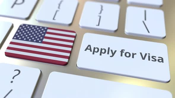 Thumbnail for APPLY FOR VISA Text and Flag of the USA on Keyboard